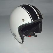 Hjelm hvid med sorte striber størrelse EXTRA LARGE
