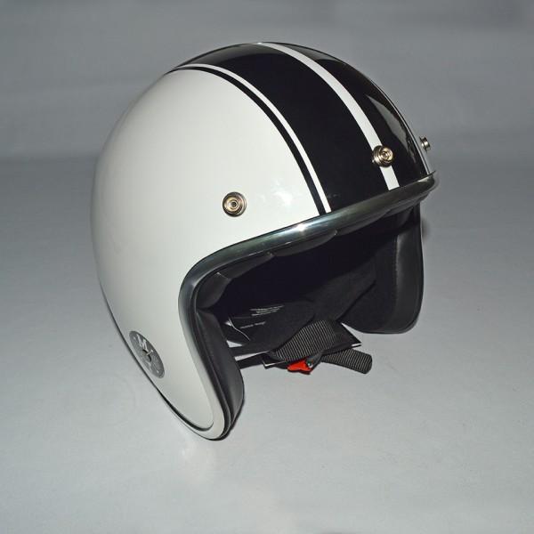 Hjelm hvid med sorte striber