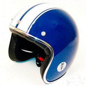 Hjelm blå med hvide striber