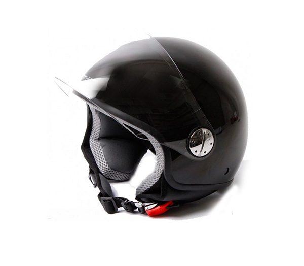 Sort Retro Hjelm med visir i størrelse EXTRA LARGE