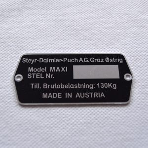 Typeplade for Puch Maxi