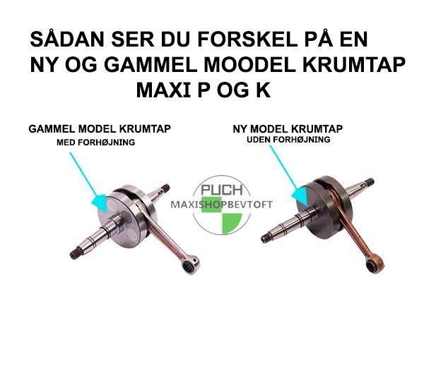 Forskel på ny og gammel model Krumtap til PUCH Maxi k og p
