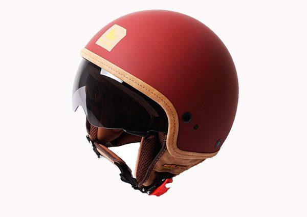 Hjelm med indbygget solbrille i flot mat rød farve størrelse EKSTRA LARGE