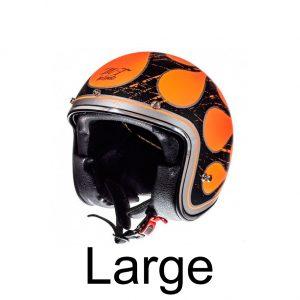 Hjelm med sort orange flamme LARGE
