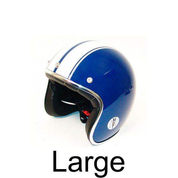 Retro Hjelm blå med hvide striber LARGE