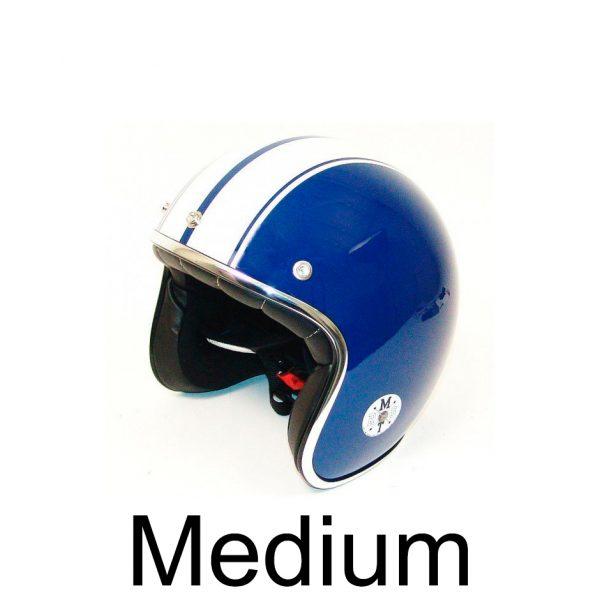 Retro Hjelm blå med hvide striber MEDIUM