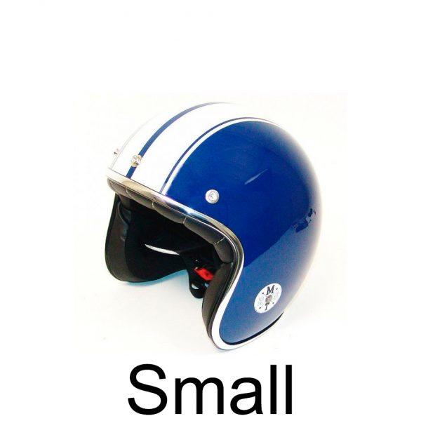 Retro Hjelm blå med hvide striber SMALL