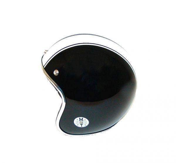 Retro hjelm sort med hvide striber SMALL