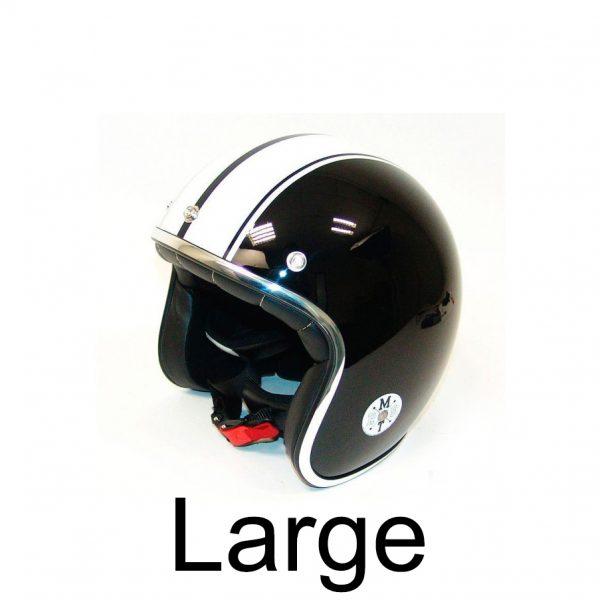 Retro hjelm sort med hvide striber LARGE