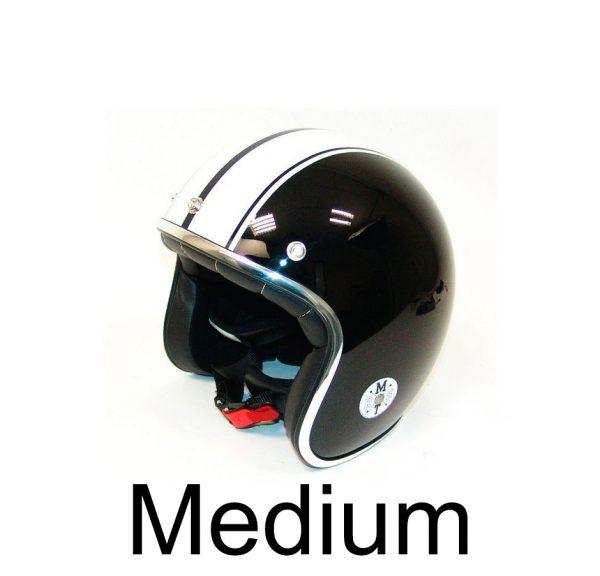 Retro hjelm sort med hvide striber MEDIUM