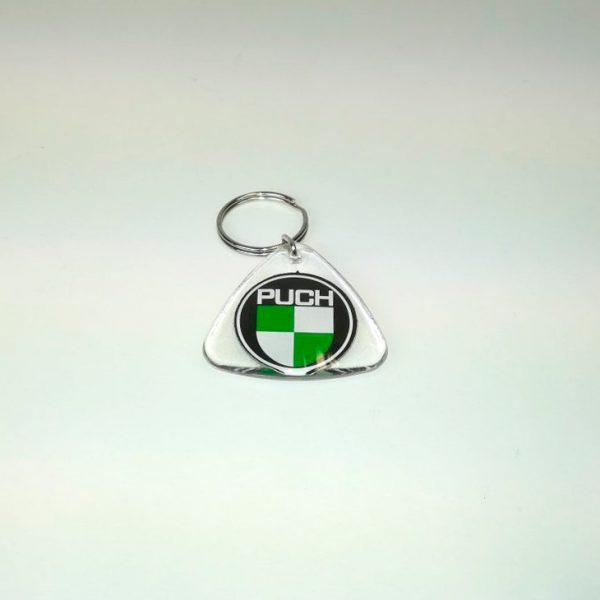 Nøglering i klar plast med PUCH logo