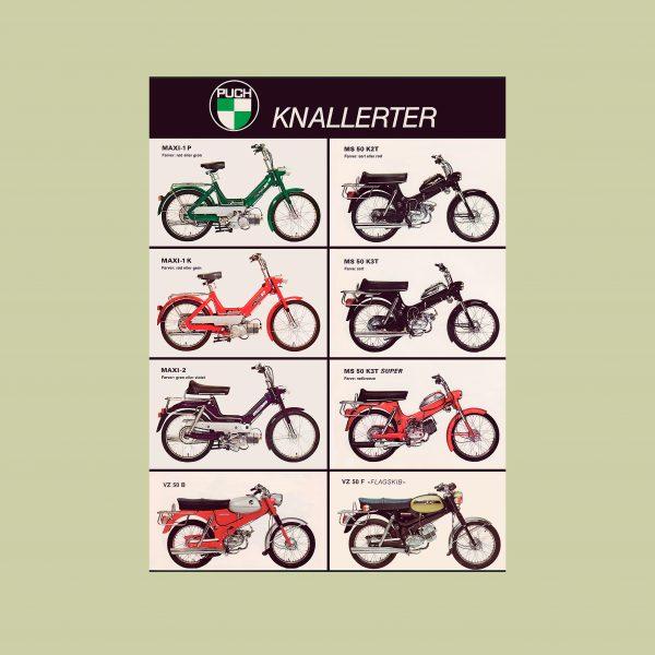 50 X 70 cm STOR plakat med 8 forskellige PUCH knallerter