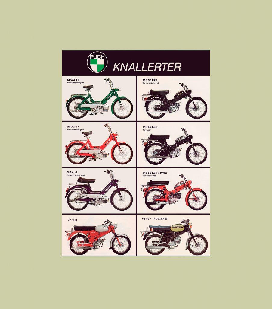 50 x 70 cm stor plakat med 8 forskellige puch knallerter maxishopbevtoft - Badspiegel 50 x 70 ...