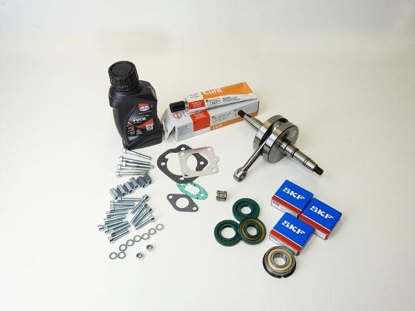 Motor rep sæt i bedste kvalitet med afbalanceret Krumtap til PUCH Maxi P, K, S og KL