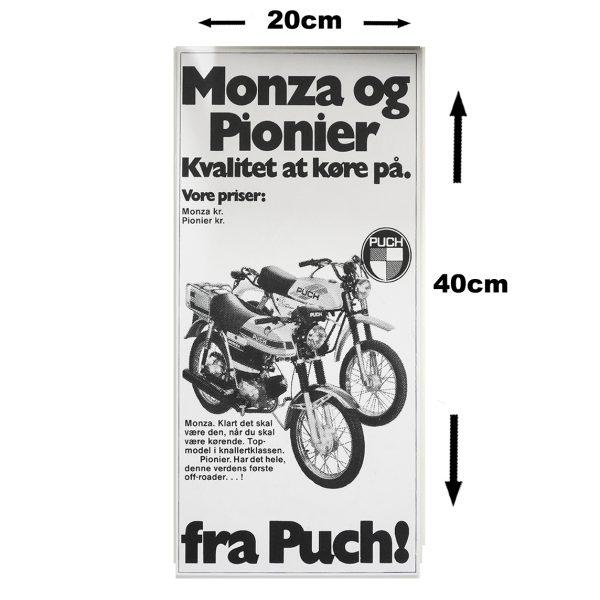 Retro skilt i 3mm pvc model med PUCH Monza og Pionier
