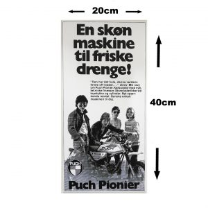 Retro skilt i 3mm pvc model med PUCH Pionier