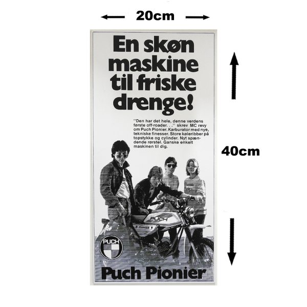 Retro skilt i 3mm pvc model med PUCH Pionier