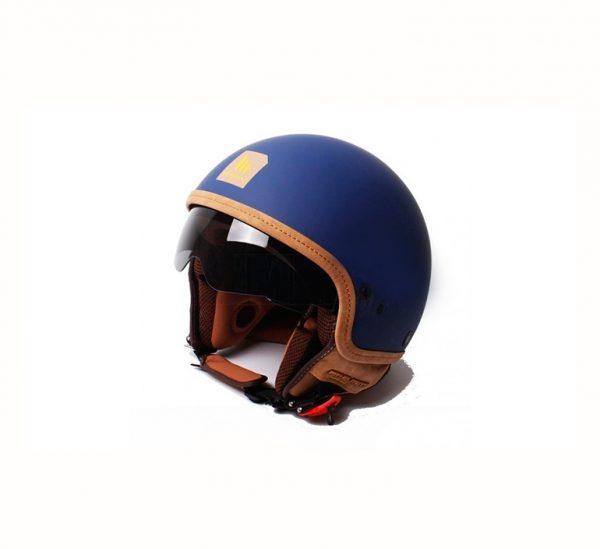 Retro Hjelm med visir i flot mat blå SMALL