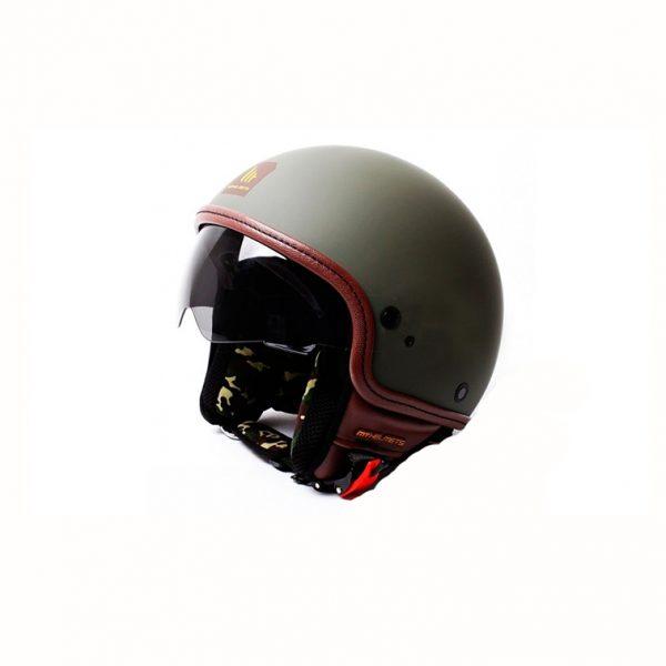 Retro Hjelm med visir i flot mat grøn EXTRA LARGE