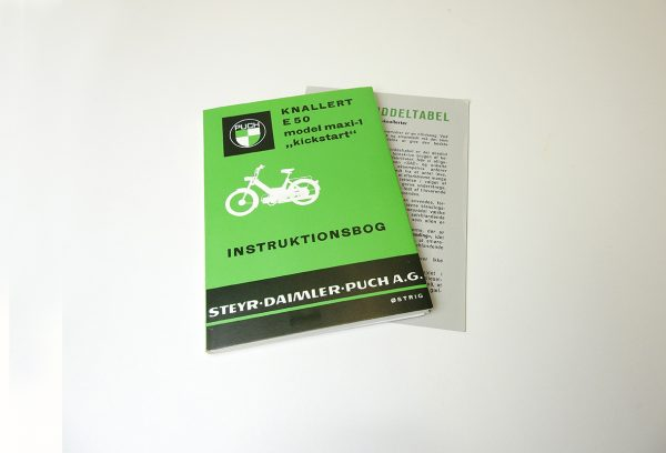 Original Instruktionsbog fra 1971 til PUCH Maxi k