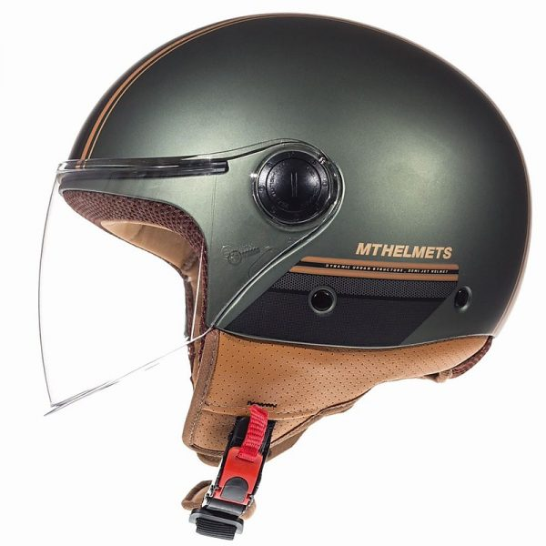Retro Hjelm med stort visir i grøn metallic MEDIUM