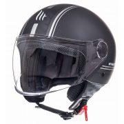 Retro Hjelm med stort visir i mat sort med strib EXTRA LARGE