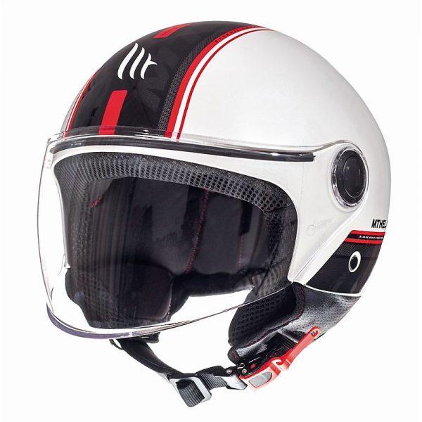 Retro Hjelm med stort visir i blank hvid med strib EXTRA LARGE