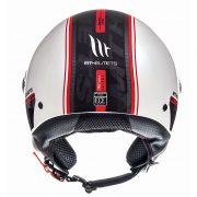 Retro Hjelm med stort visir i blank hvid med strib MEDIUM