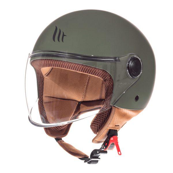 Retro Hjelm med stort visir i mat grøn EXTRA LARGE