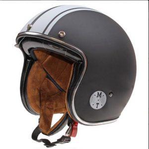 Retro Hjelm mat sort med strib og med indbygget solbrille SMALL
