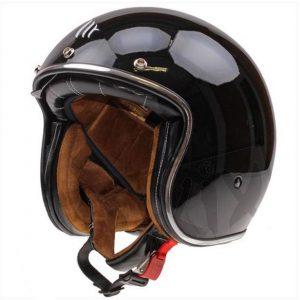 Retro Hjelm sort højglans med indbygget solbrille EXTRA SMALL