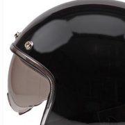 Retro Hjelm sort højglans med indbygget solbrille MEDIUM