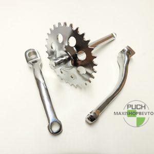 Pedal aksel med 28 tænder inkl 2 pedalarme til PUCH Maxi