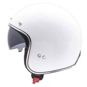Retro Hjelm hvid højglans med indbygget solbrille SMALL
