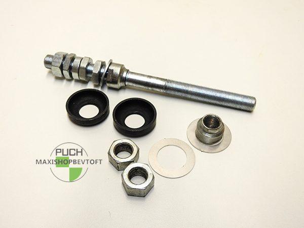 Forhjuls aksel for løse kugler komplet med støvskiver som original til PUCH Maxi