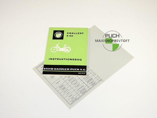 Original Instruktionsbog fra 1973 til PUCH Maxi E 50