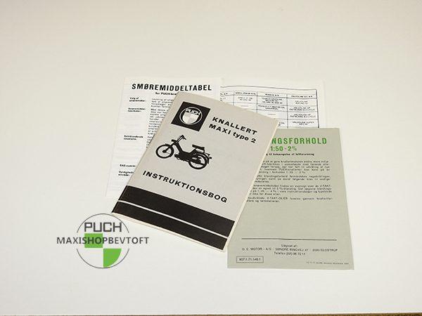 Original Instruktionsbog fra 1971 til PUCH Maxi 2 gear