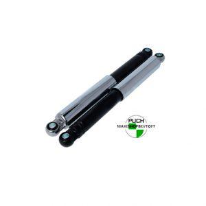 Støddæmpere 310mm lukket model med krom kappe og sorte ben til PUCH Maxi Kl og 2 gear