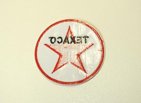 Stofmærke Ø75mm TEXACO i den bedste kvalitet med klæber