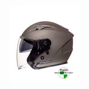 XXL Jet Hjelm mat grå med solbrille og stort visir