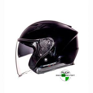 XXL Jet Hjelm blank sort med solbrille og stort visir