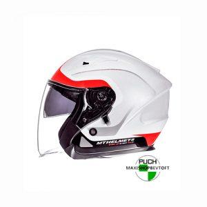 MEDIUM Jet Hjelm i hvid med rød strib med solbrille og stort visir