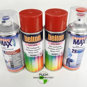 Benzinfast LUX sæt rød lak ral 3002 med primer og 2 komp lak