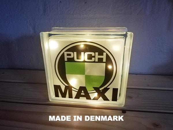 Glas sten 190 x 190mm med PUCH MAXI og LED lys
