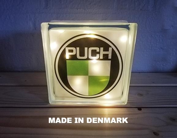 Glas sten 190 x 190mm med PUCH og LED lys