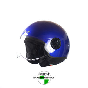 LARGE Retro Hjelm i mørk blå med klar visir