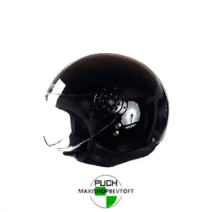 EXTRA LARGE Retro Hjelm blank sort med klar visir