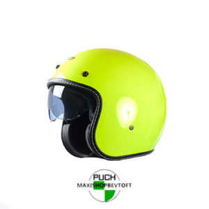 EXTRA LARGE Retro Hjelm i gul med indbygget solbrille