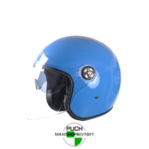 EXTRA LARGE Retro Hjelm i blå med stort visir og solbrille