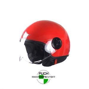 LARGE Retro Hjelm i rød med klar visir